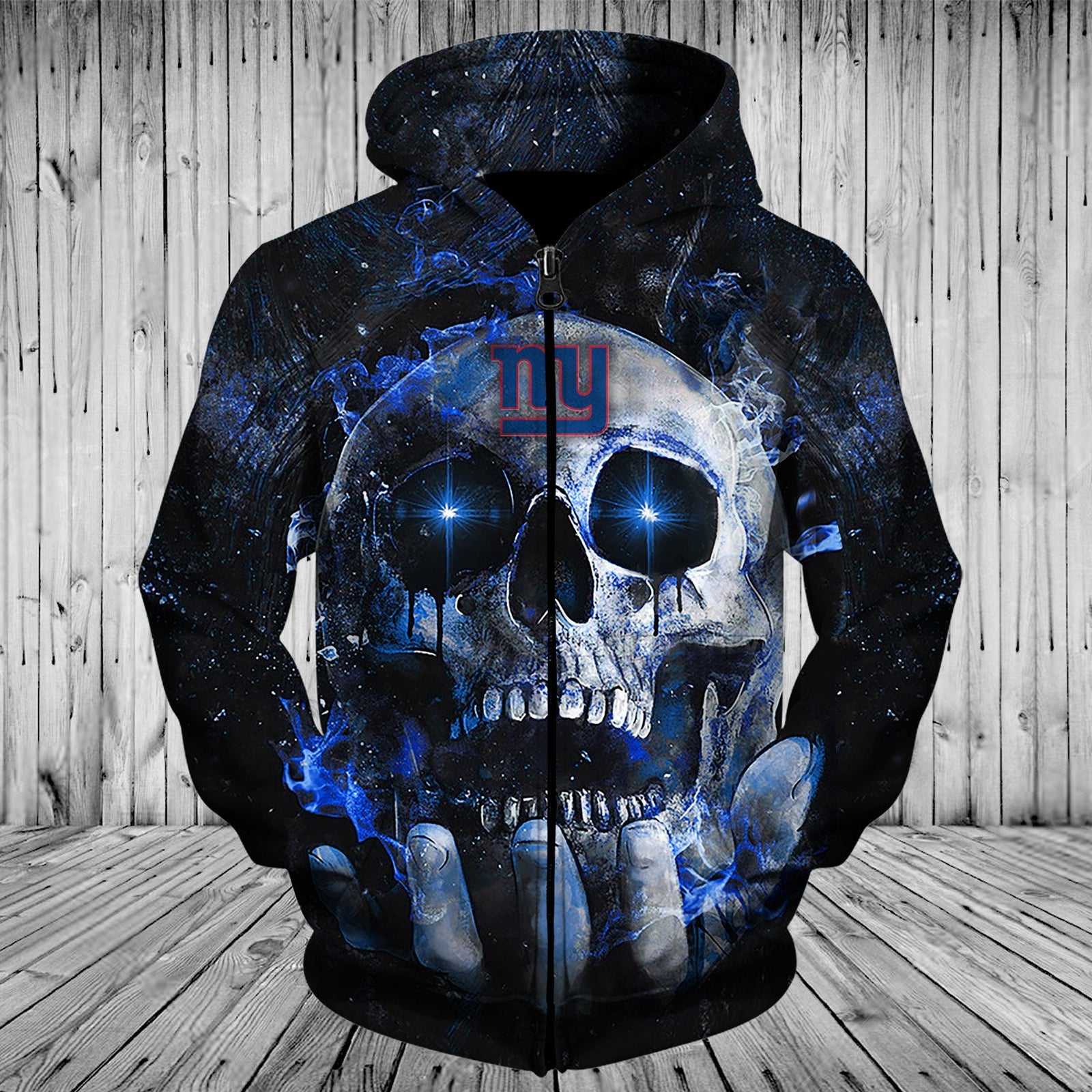New York Giants Hoodies Mens 3D Skull Place On Hand