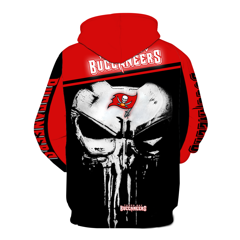 Tampa Bay Buccaneers Punisher Skull  Full All Over Printed Hoodie