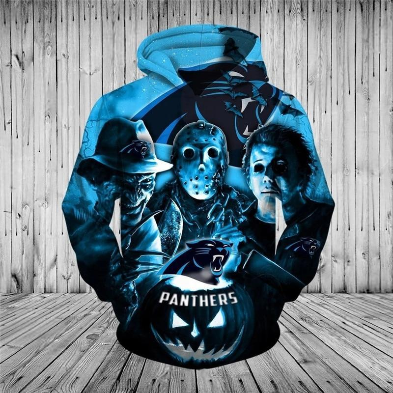 Carolina Panthers Hoodies 3D Halloween Horror Night Sweatshirt Pullover