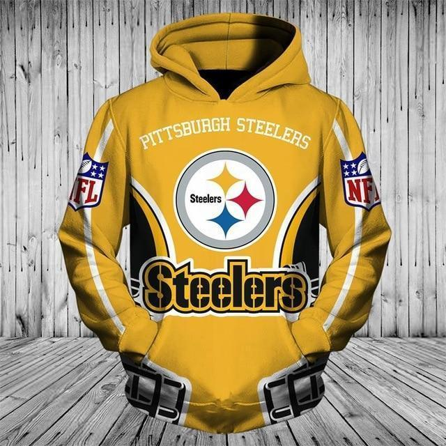 Cheap Price NFL Hoodies 3D Pittsburgh Steelers Zip up Hoodies Sweatshirt Pullover