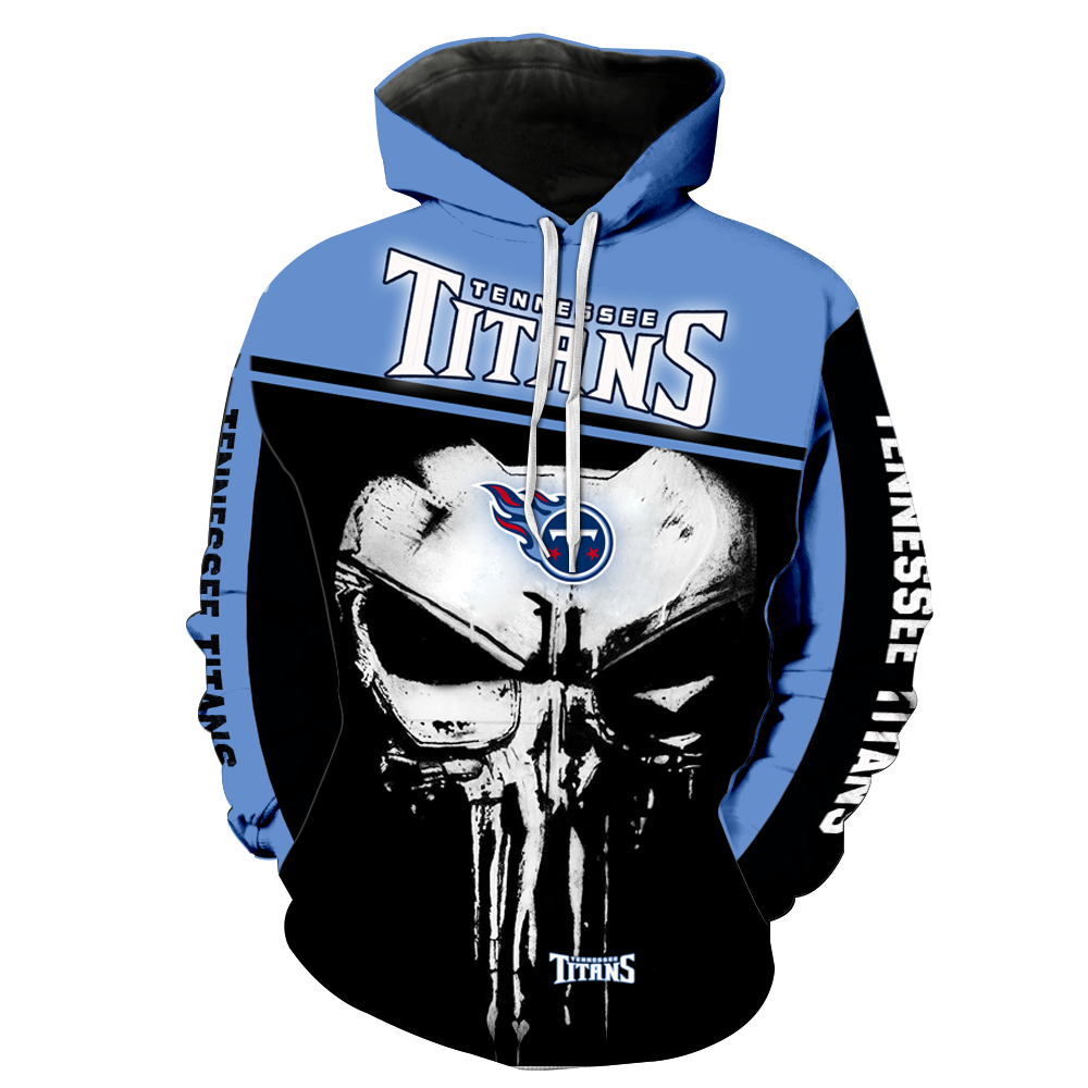 Tennessee Titans Punisher Skull  Full All Over Printed Hoodie