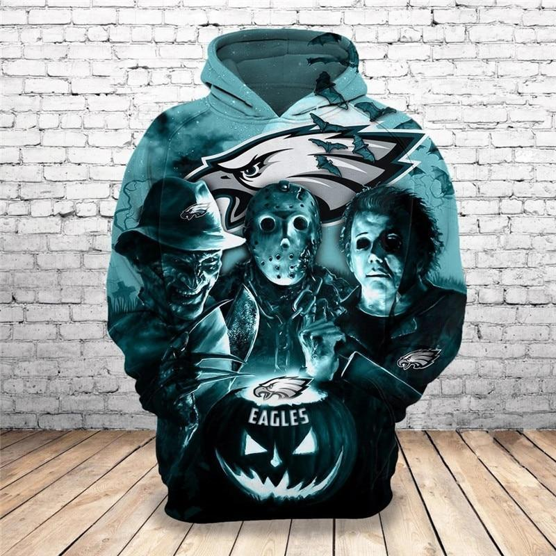Philadelphia Eagles Hoodies 3D Halloween Horror Night Sweatshirt Pullover