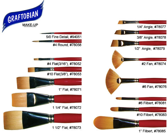 Graftobian Face and Body Painting Brushes