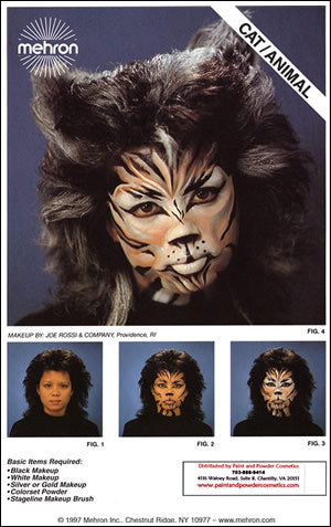 Mehron Cat Animal Makeup Instruction Sheet