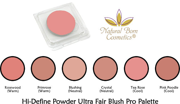 Natural Born Cosmetics Hi Define Powder Blush Pro Palette For Ultra Fair Complexions, Refill Pans