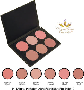 Natural Born Cosmetics Hi Define Powder Blush Pro Palette For Ultra Fair Complexions
