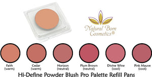 Natural Born Cosmetics Hi Define Powder Blush Pro Palette, Refill Pans