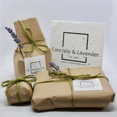 Concrete & Lavender packaging, craft paper, twine, dried lavender. Label made of recycled cotton and seeds