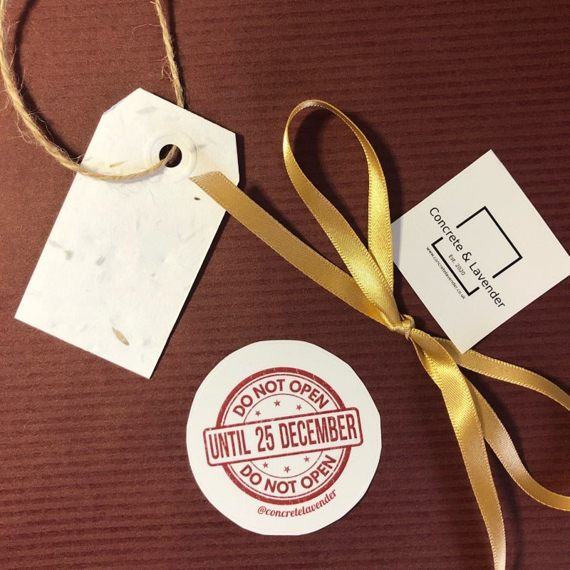 Concrete & Lavender wrapping paper, gold ribbon, gift label on twine, do not open until 25 December sticker, Concrete & Lavender sticker