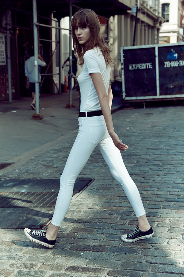 Geo Skinny Ankle Jeans -  Power White