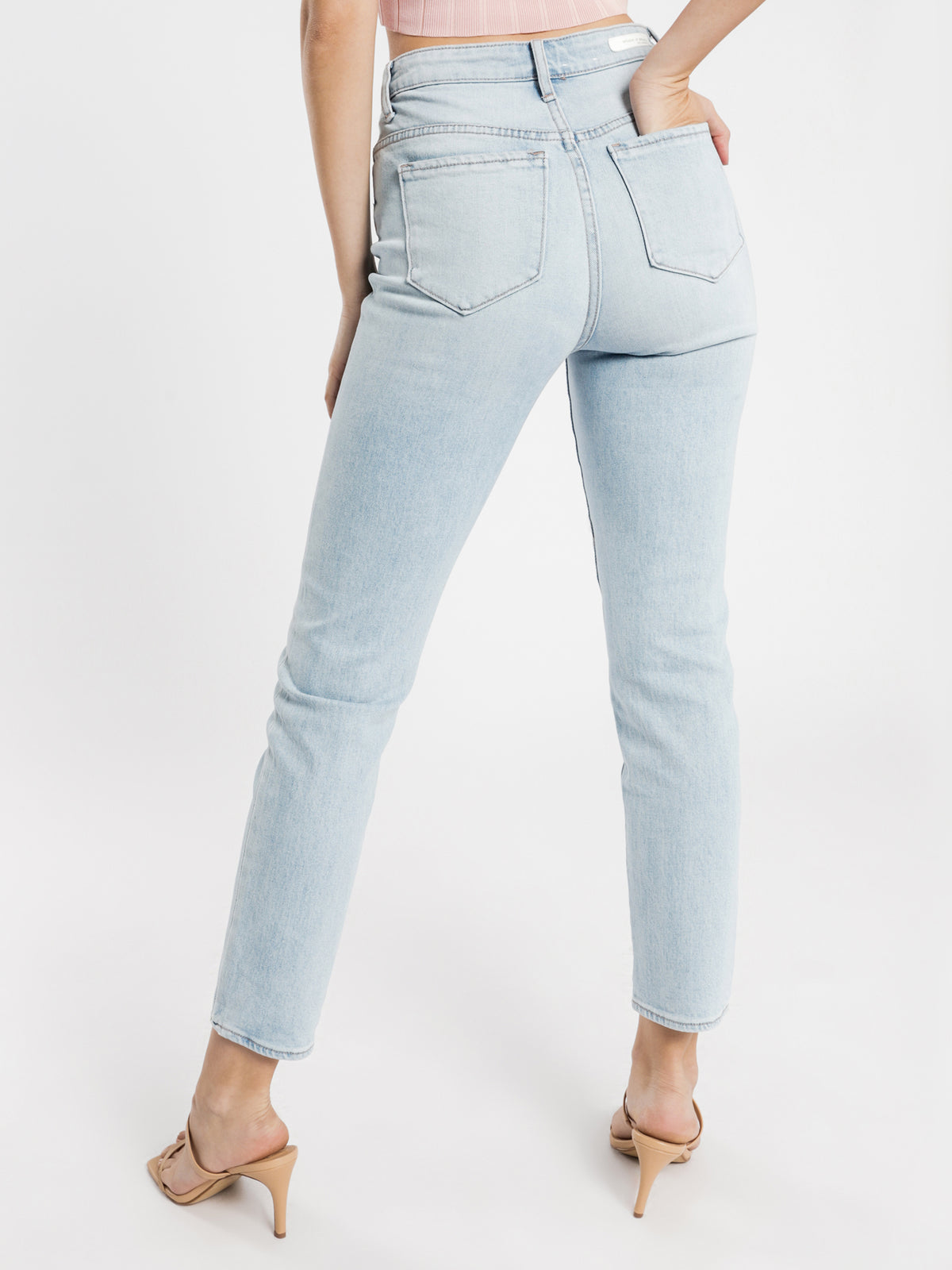High Amy Mom Jeans in Light Blue Wash Denim