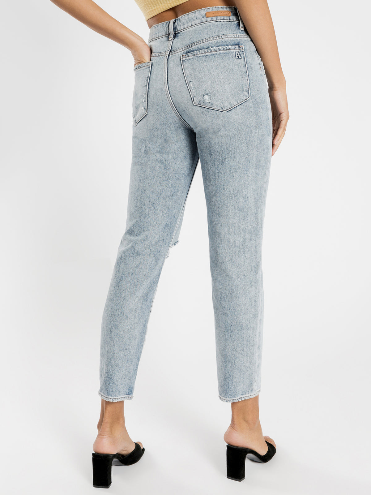 High Amy Mom Slim Jeans in Distressed Blue Denim
