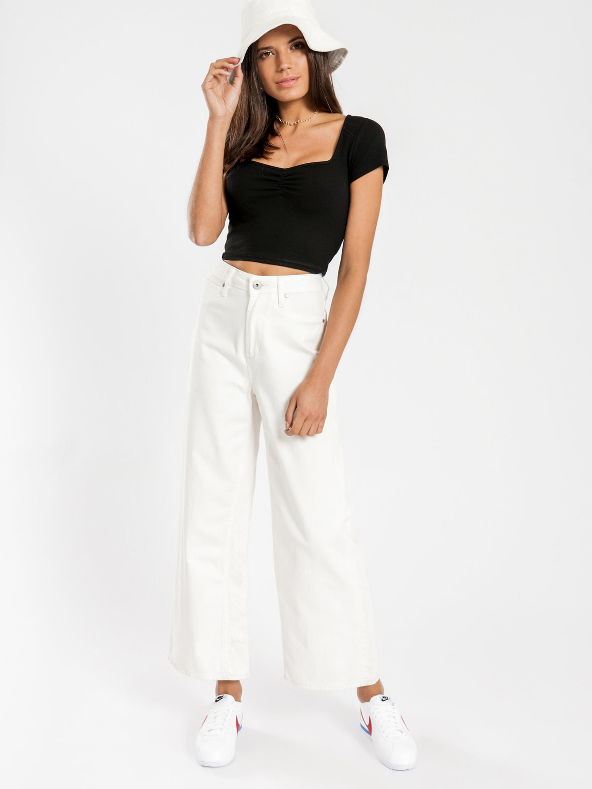 Sophie Wide Leg Jeans in Ecru Denim