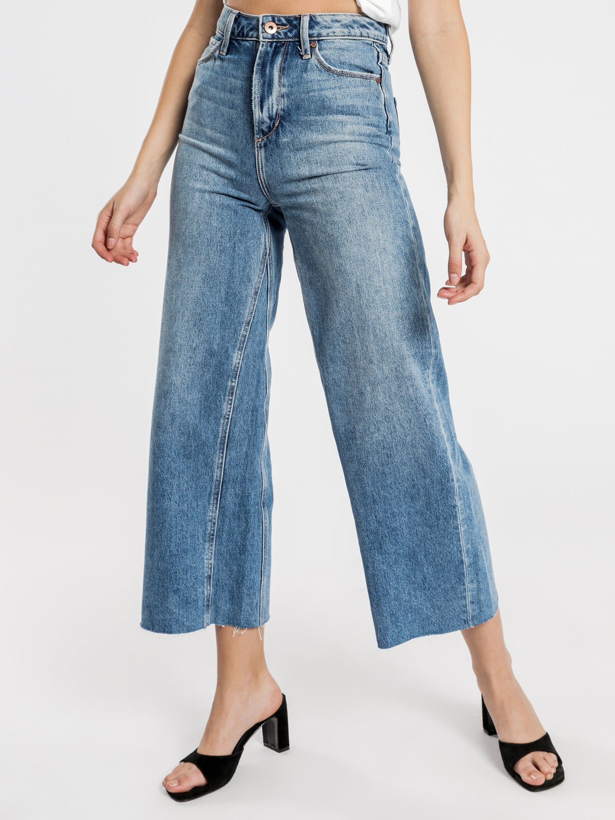 Sophie Wide Leg Jeans in Mid Authentic Blue Denim