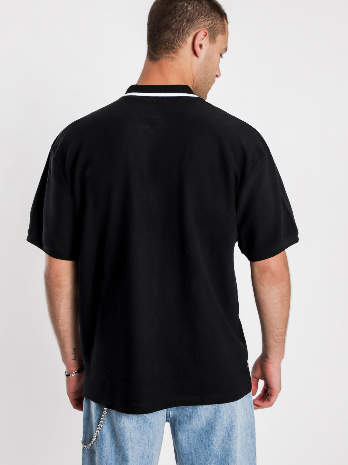 Chunk Classic Short Sleeve Polo in Black Stripe