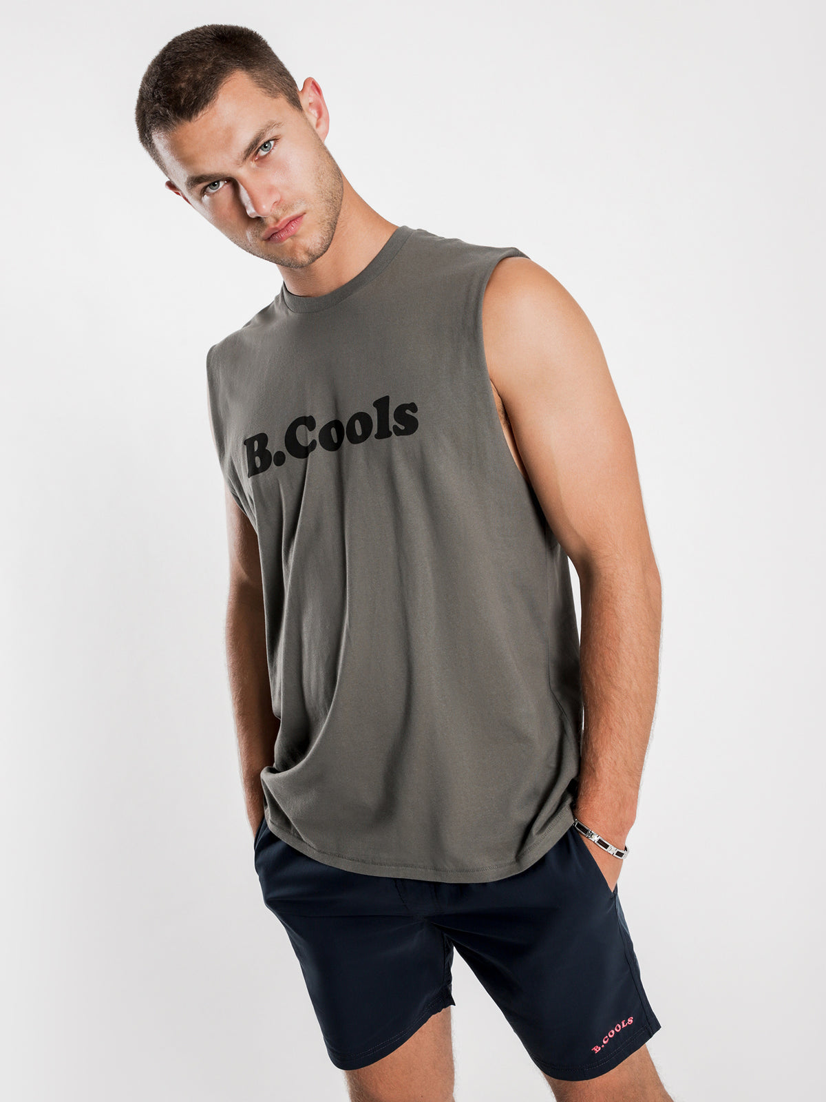 B.Cools Retro Muscle T-Shirt in Bottle Green