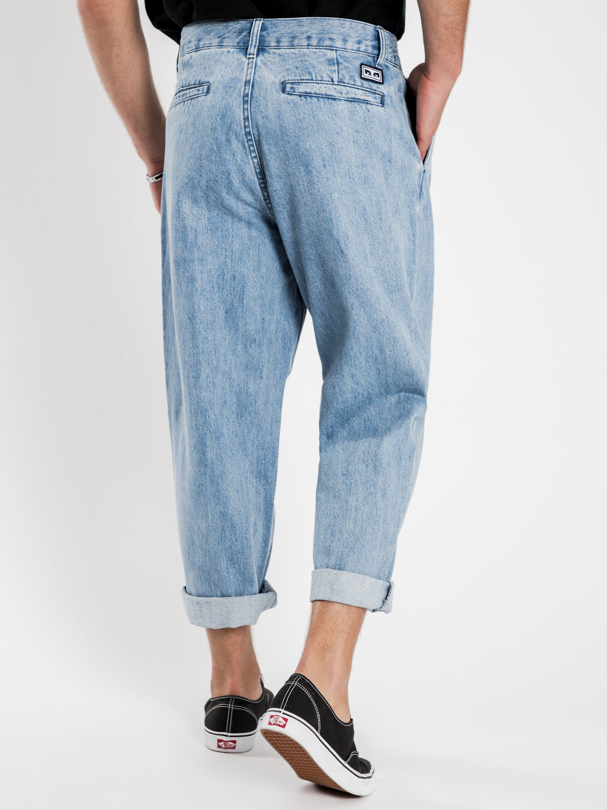 Fubar Pleated Pants in Light Indigo Denim