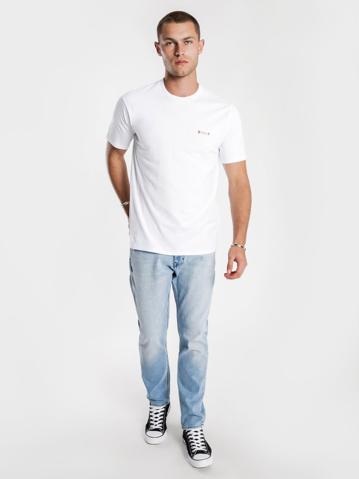 B.Cools Retro Embro T-Shirt in White
