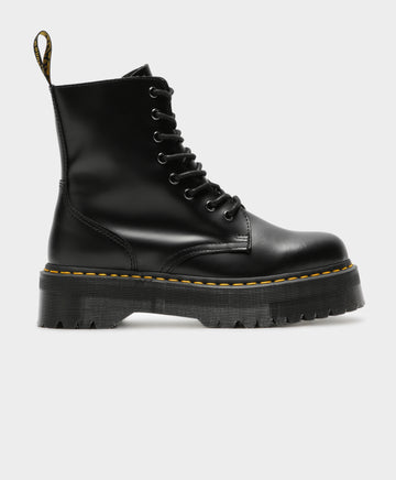 Unisex Jadon 8 Eyelet Lace Up Platform Boots in Black Leather
