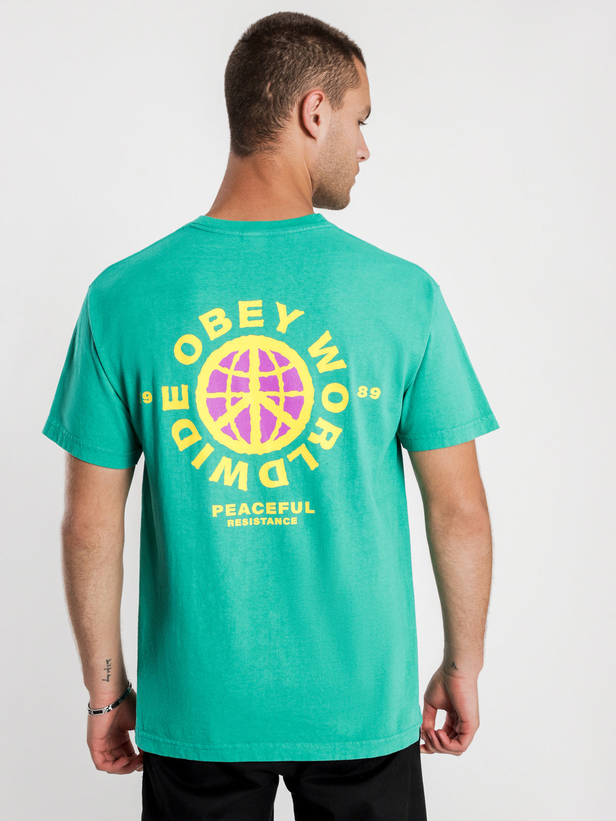 Obey Peaceful Resistance T-Shirt in Emerald