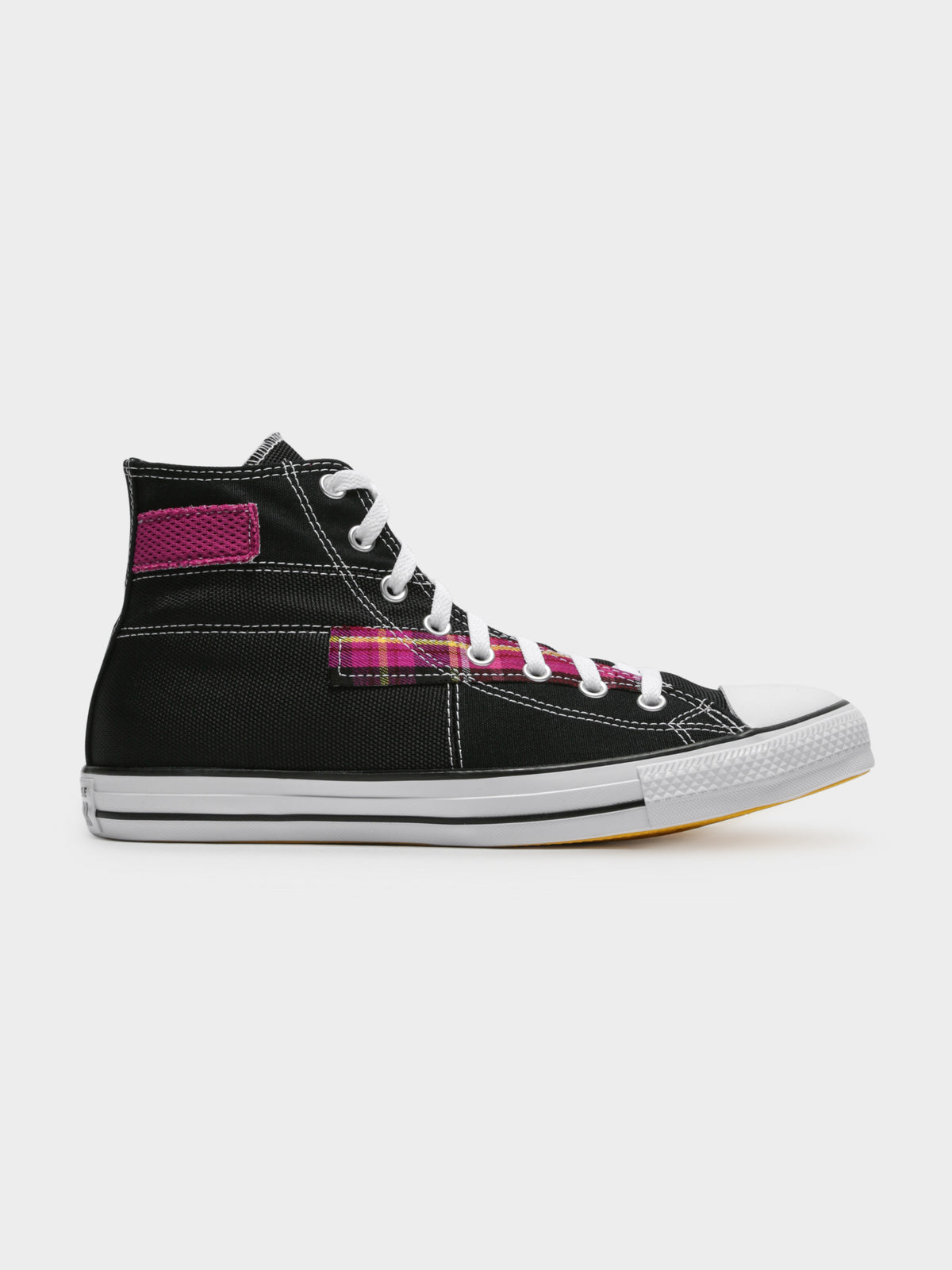 Unisex Converse Chuck Taylor All Star Patchwork High Top Sneakers in Black