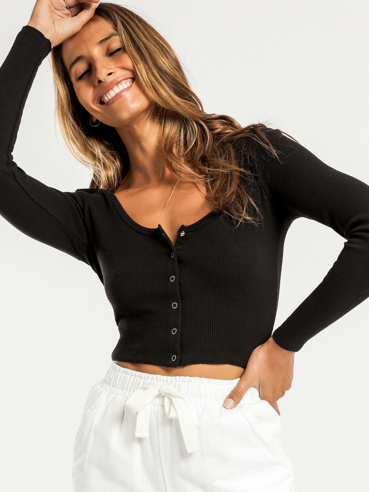 Kaia Waffle Long Sleeve T-Shirt in Black