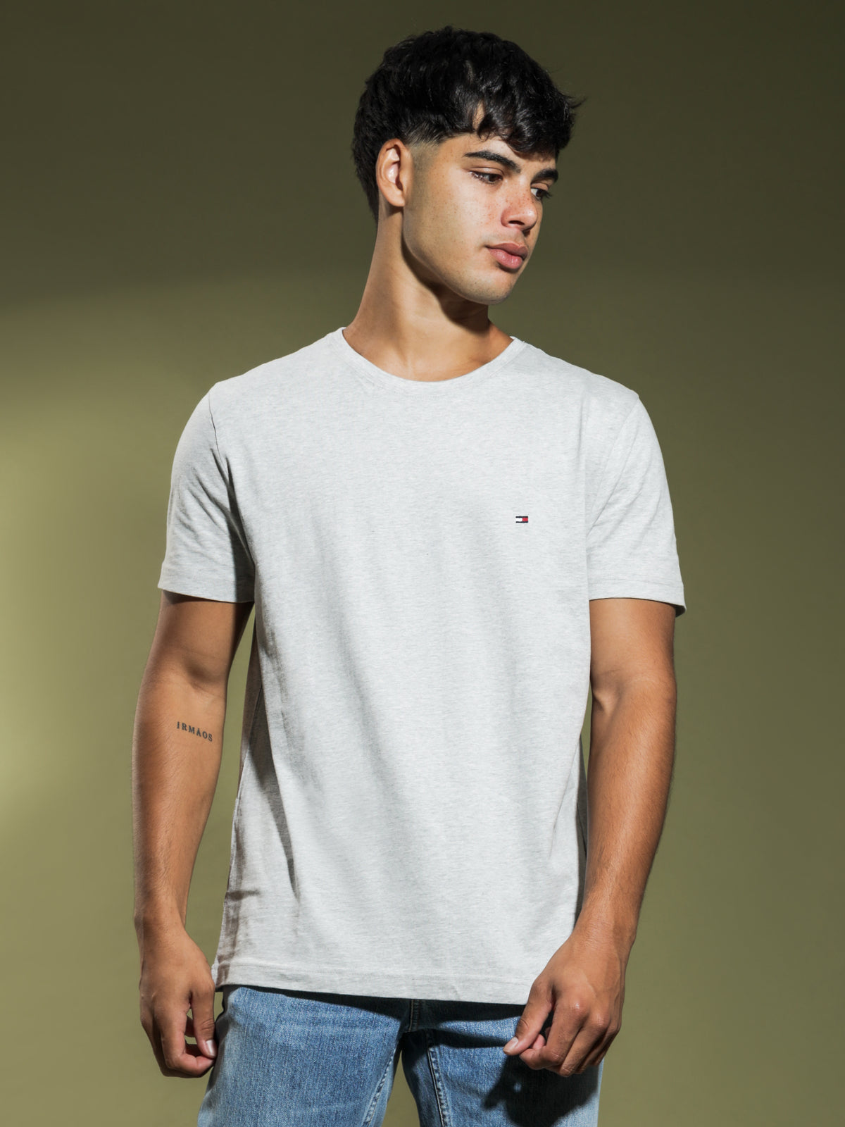 May Crew Neck T-Shirt in Grey Marle