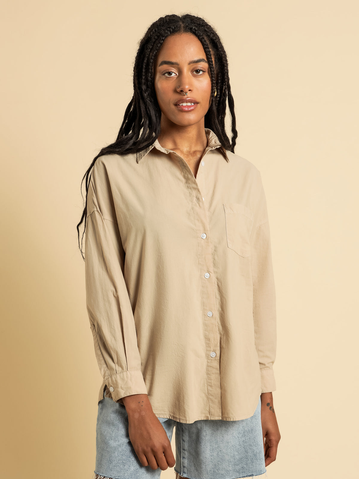 Naya Washed Cotton Shirt in Mocha