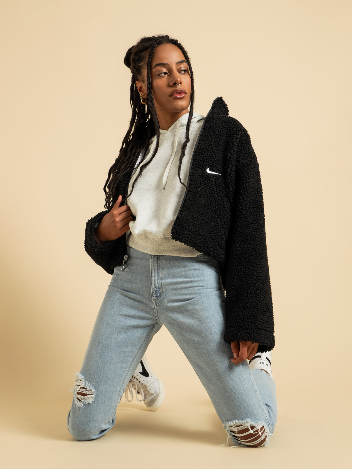 Sportswear Swoosh Sherpa Jacket in Black