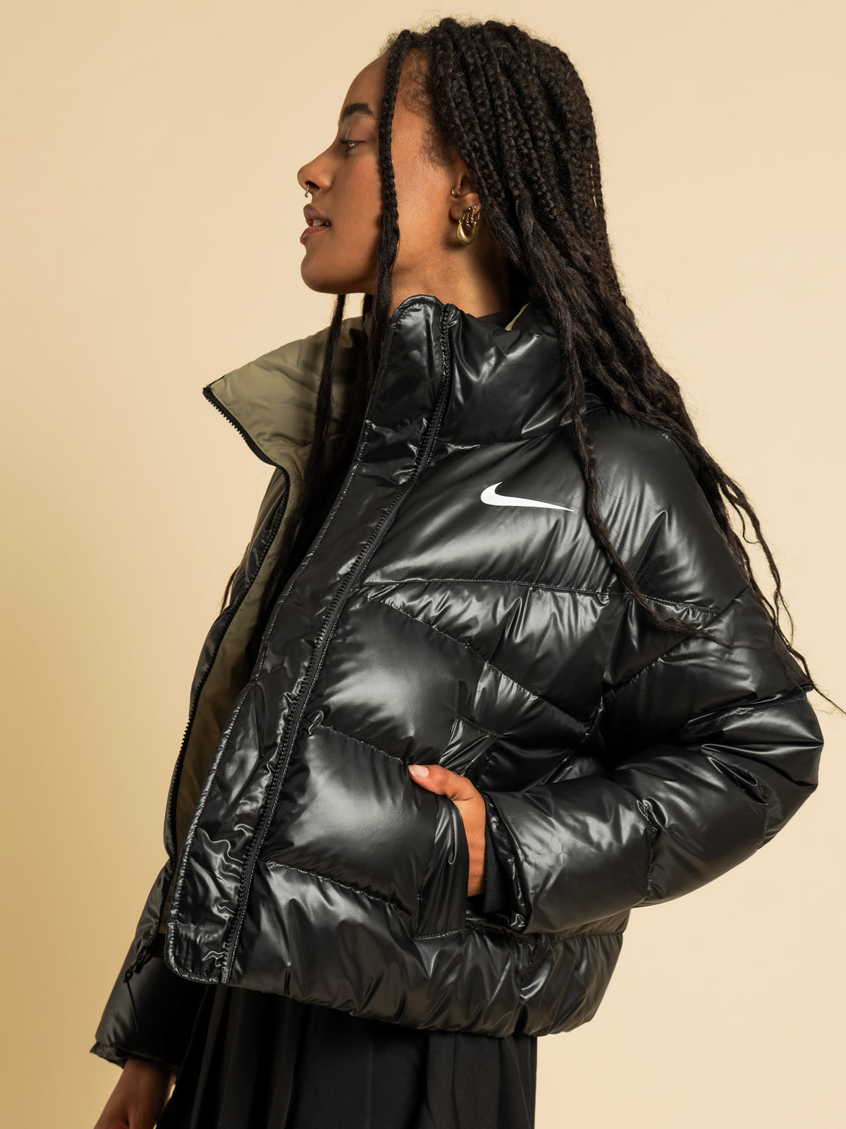 Sportswear Down-Fill Puffer Jacket in Black & Mystic Stone