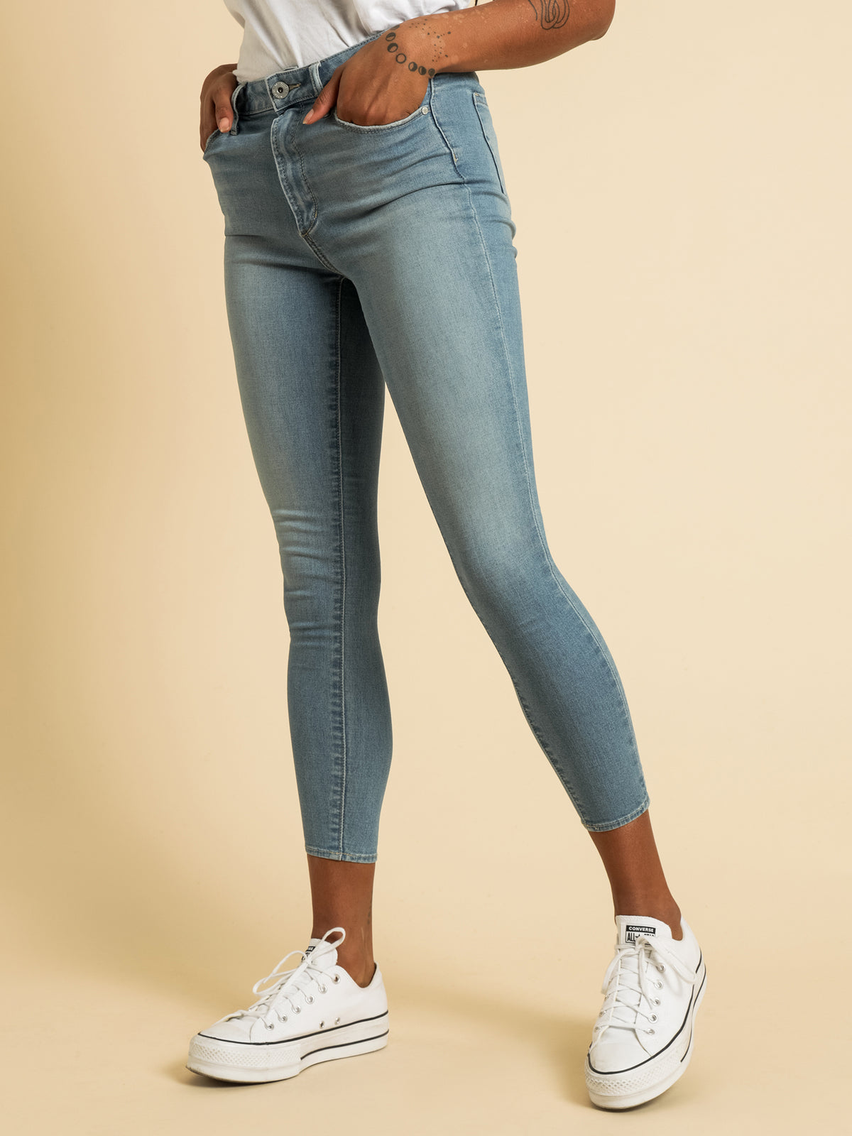 High Lisa Skinny Ankle Jeans in Blue Denim