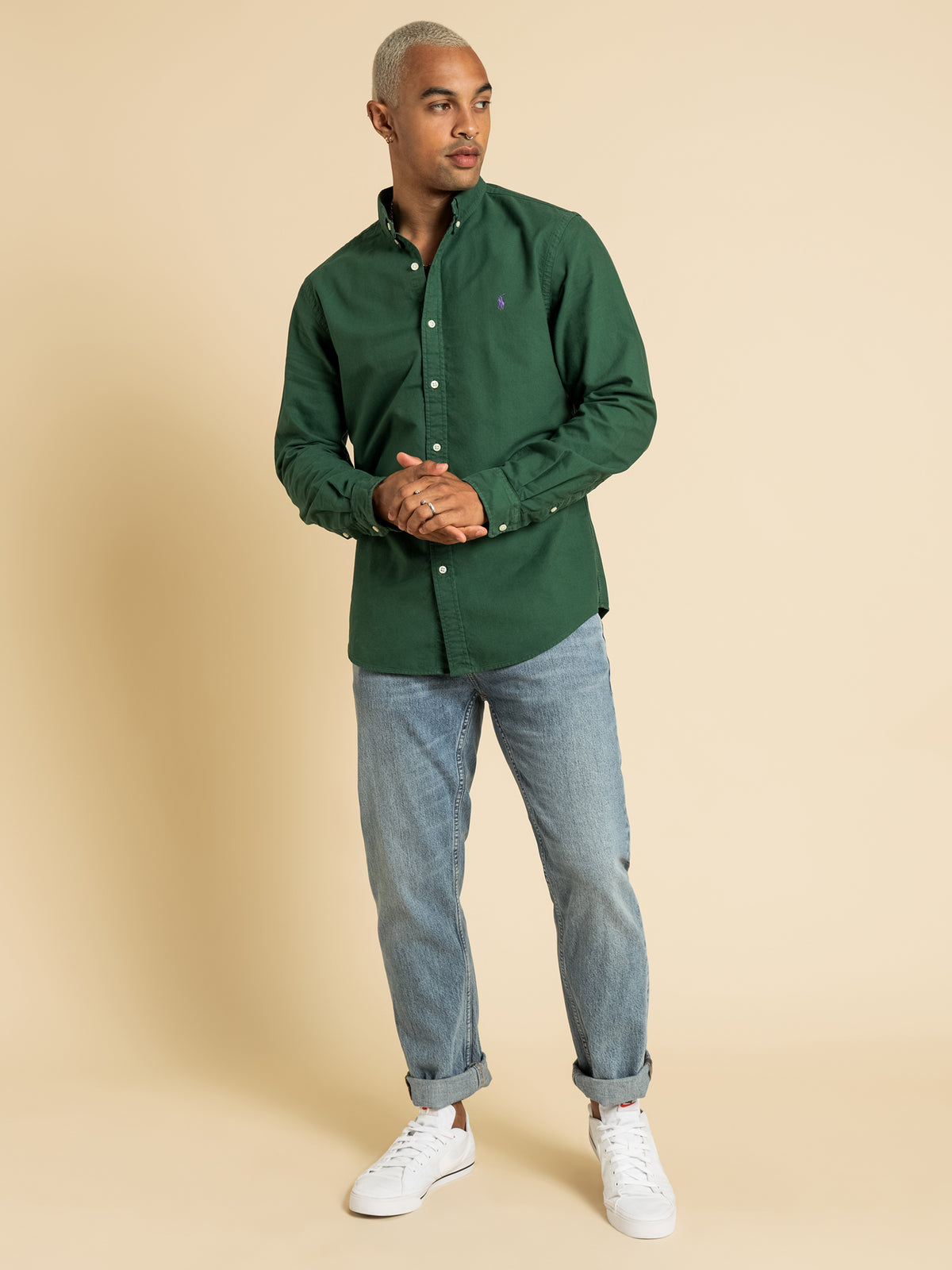 Slim Fit Button Up Shirt in Bottle Green