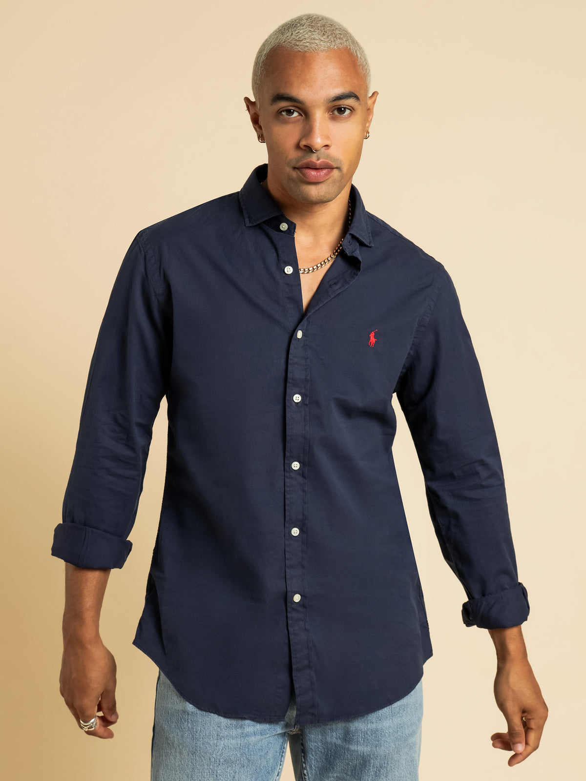 Slim Fit Button Up Shirt in Navy