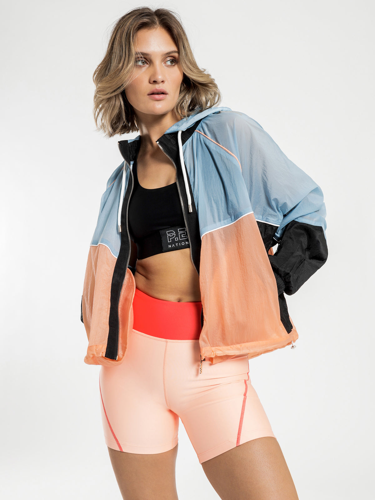 Aerial Drop Jacket in Light Blue & Peach