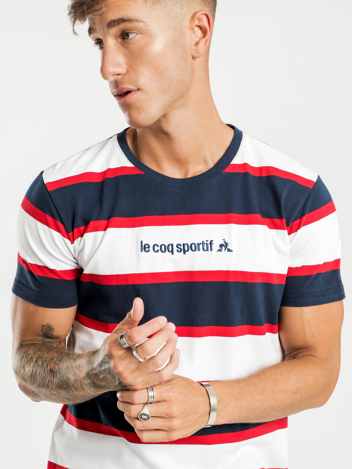 Cabot Stripe T-Shirt in Navy Red & White