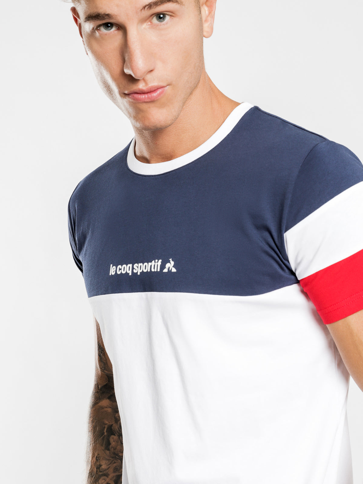 Tricolore T-Shirt in Navy White & Red