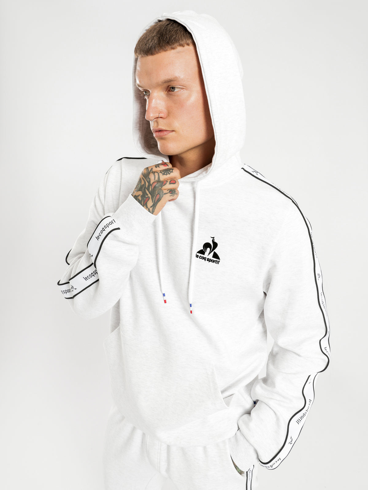 Henri Hooded Sweat in Snow Marle
