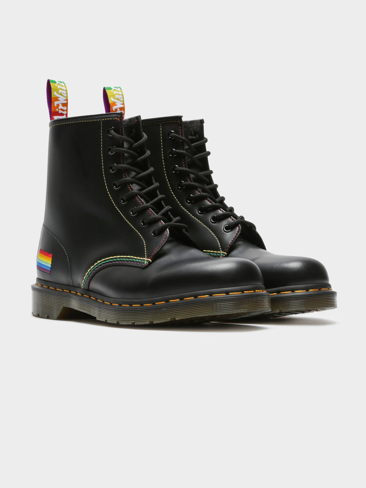 Unisex 2460 Pride Smooth Lace Up Boots in Black