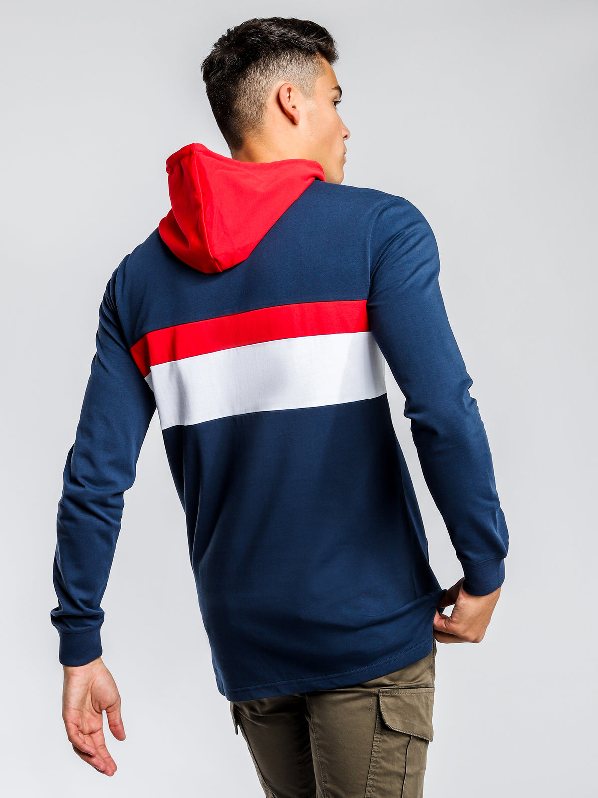 Valence Long Sleeve Hooded Tee in Blue
