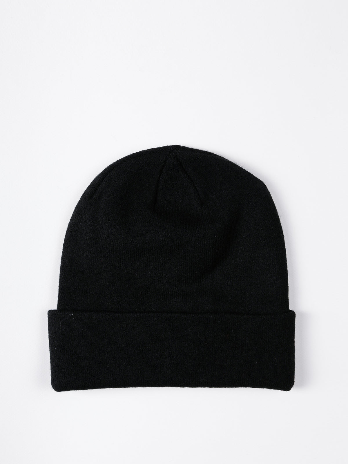 Womens Rib Logo Beanie in Black