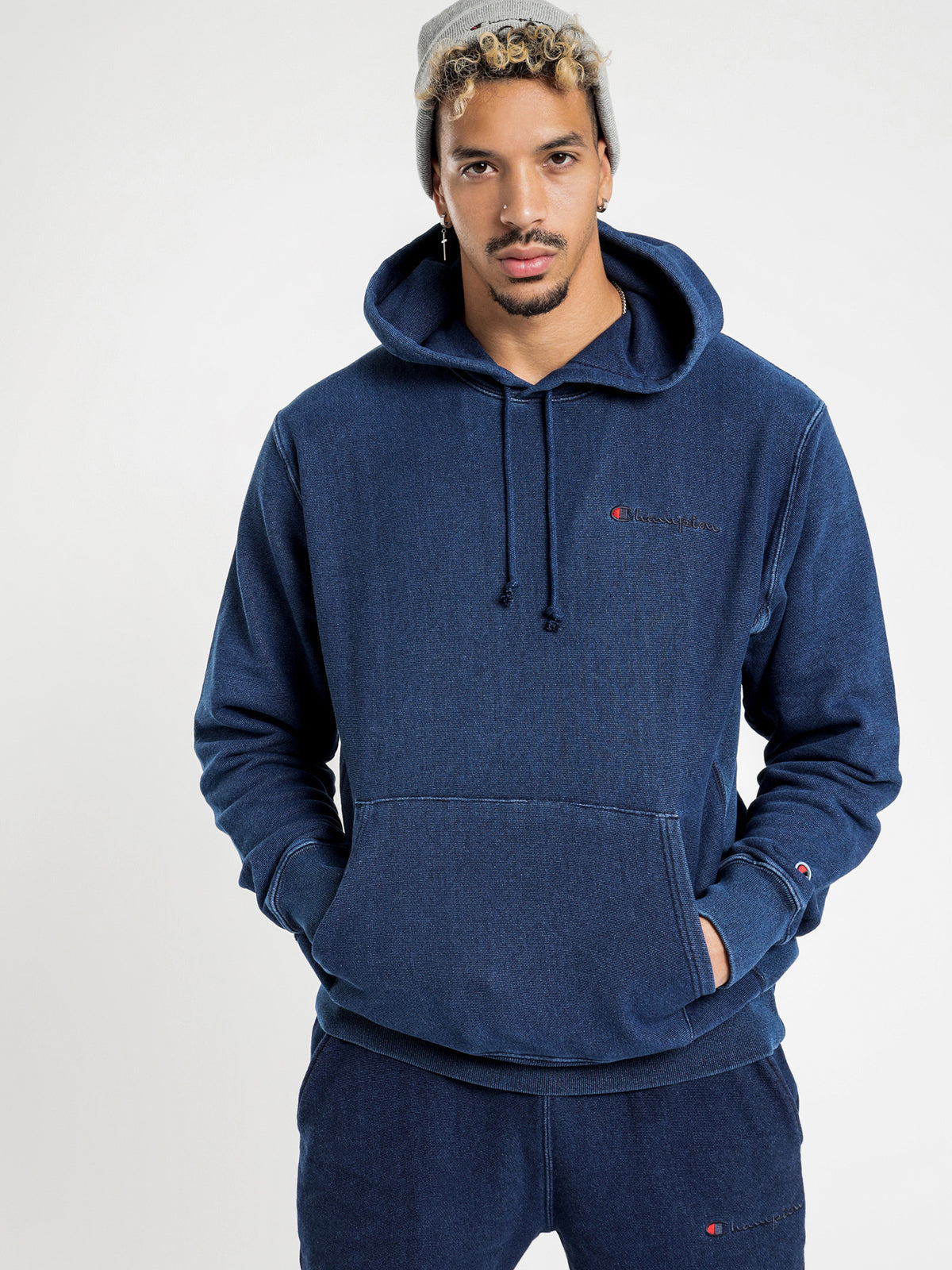 Reverse Weave Re:Bound Terry Hoodie in Blue