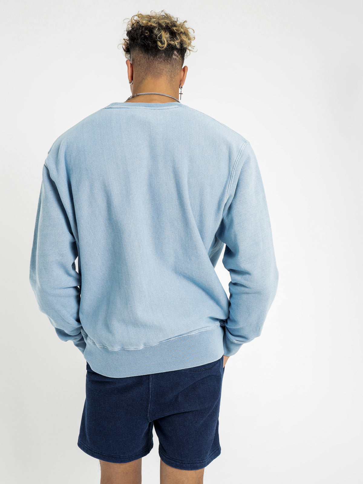 Reverse Weave Re:Bound Crew in Washed Blue