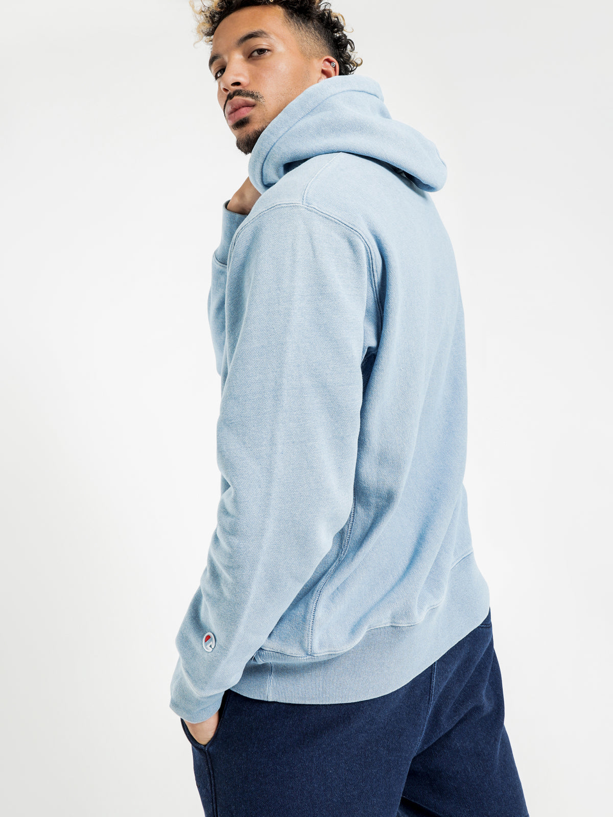 Reverse Weave Re:Bound Terry Hoodie in Washed Blue