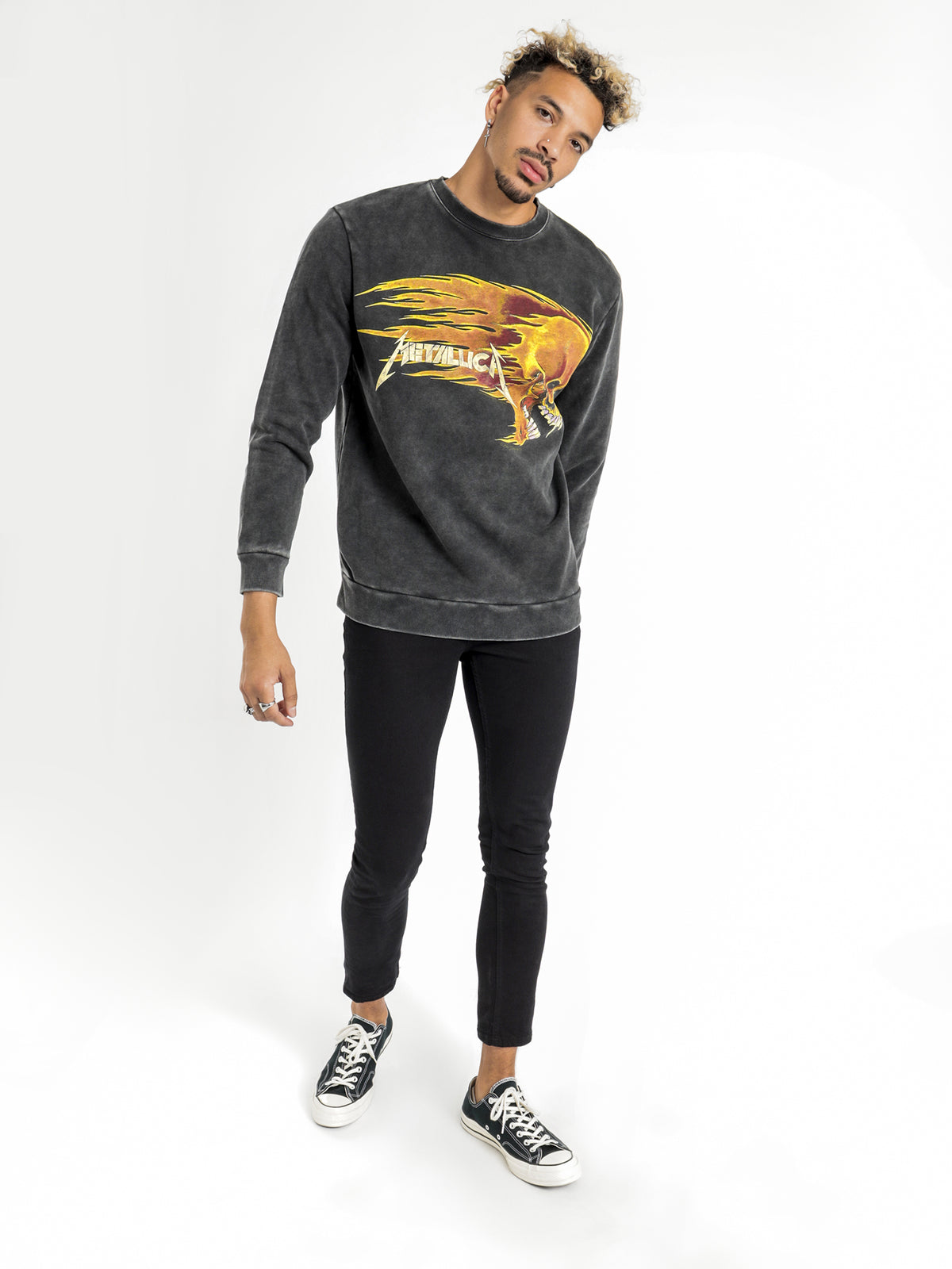 Flamming Skull Crew Jumper in Black