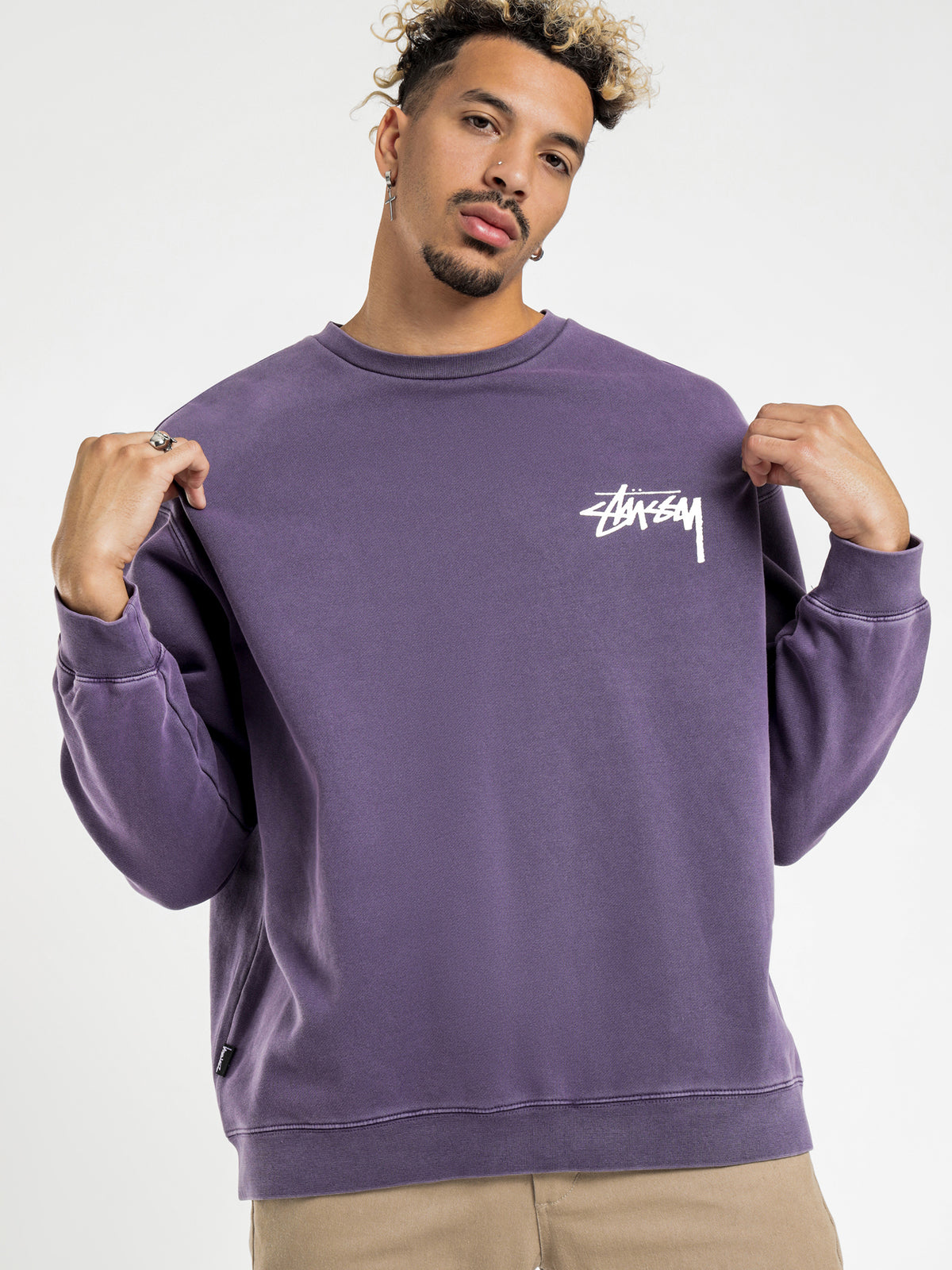 Stock Crew Jumper in Aubergine