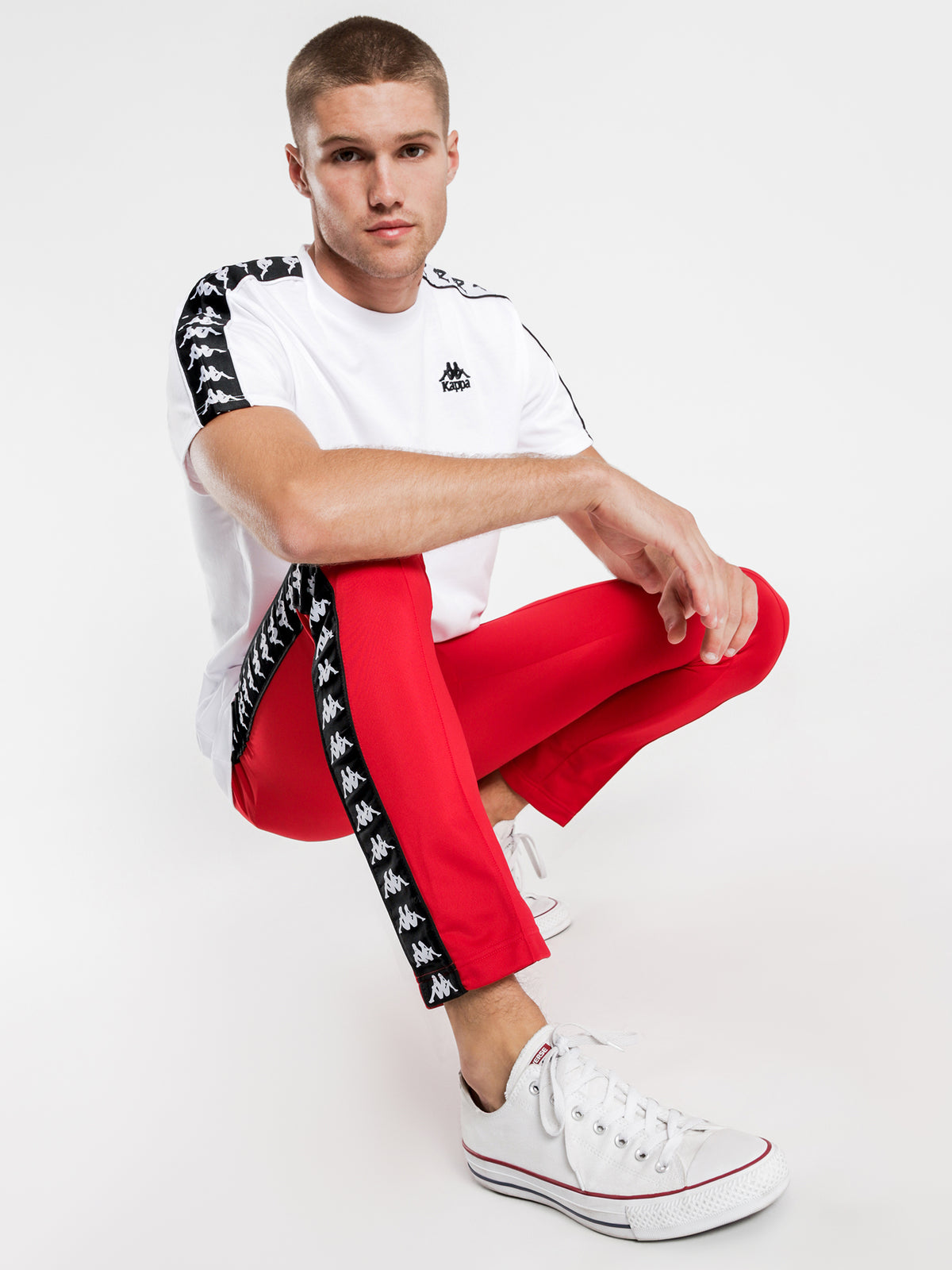222 Banda Astoria Slim Track Pants in Red & Black