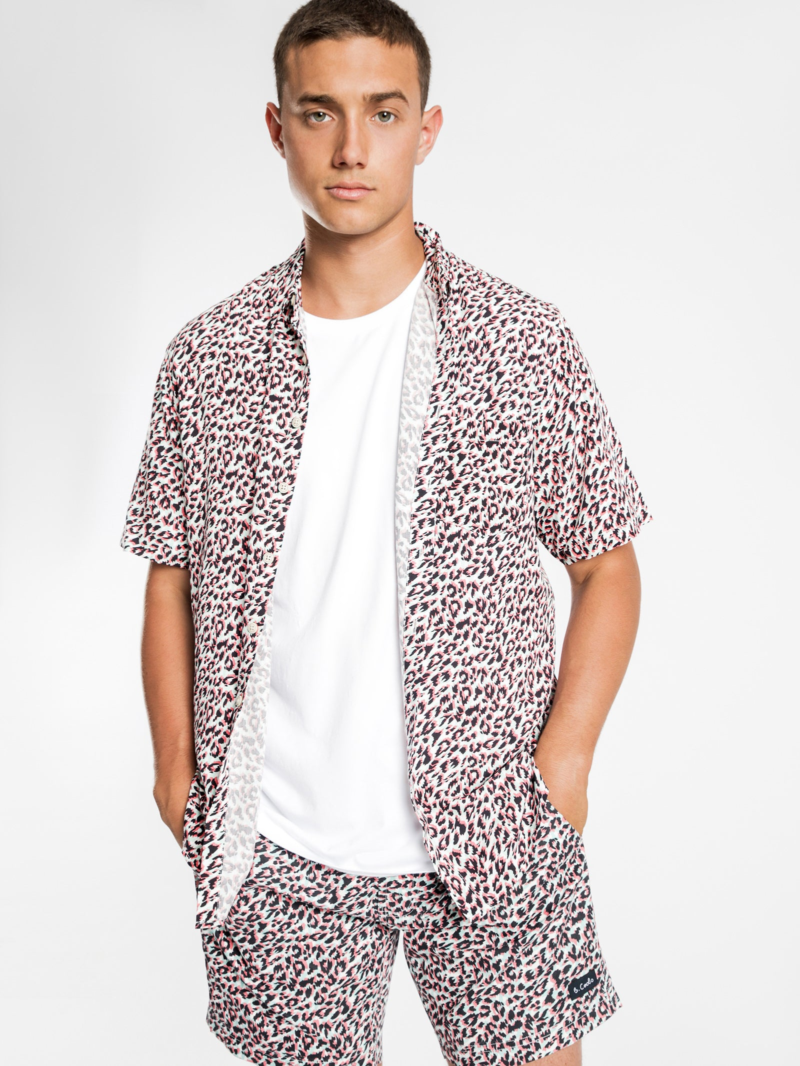 Holiday Short Sleeve Shirt in White Leopard