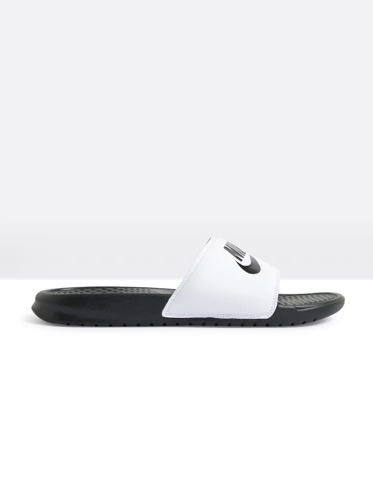 Mens Benassi Slides in White & Black