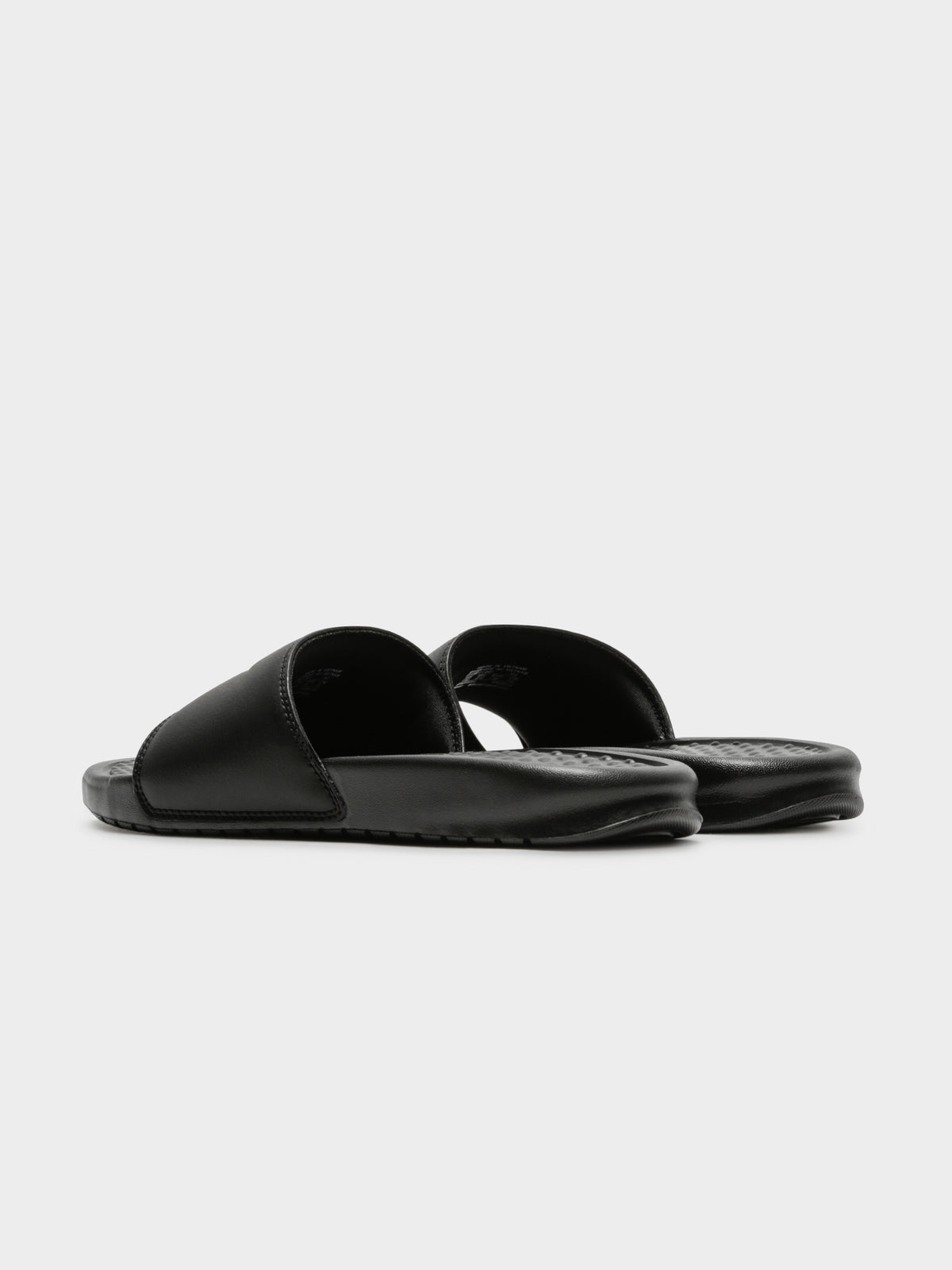 Womens Benassi Slides in Black & Gold