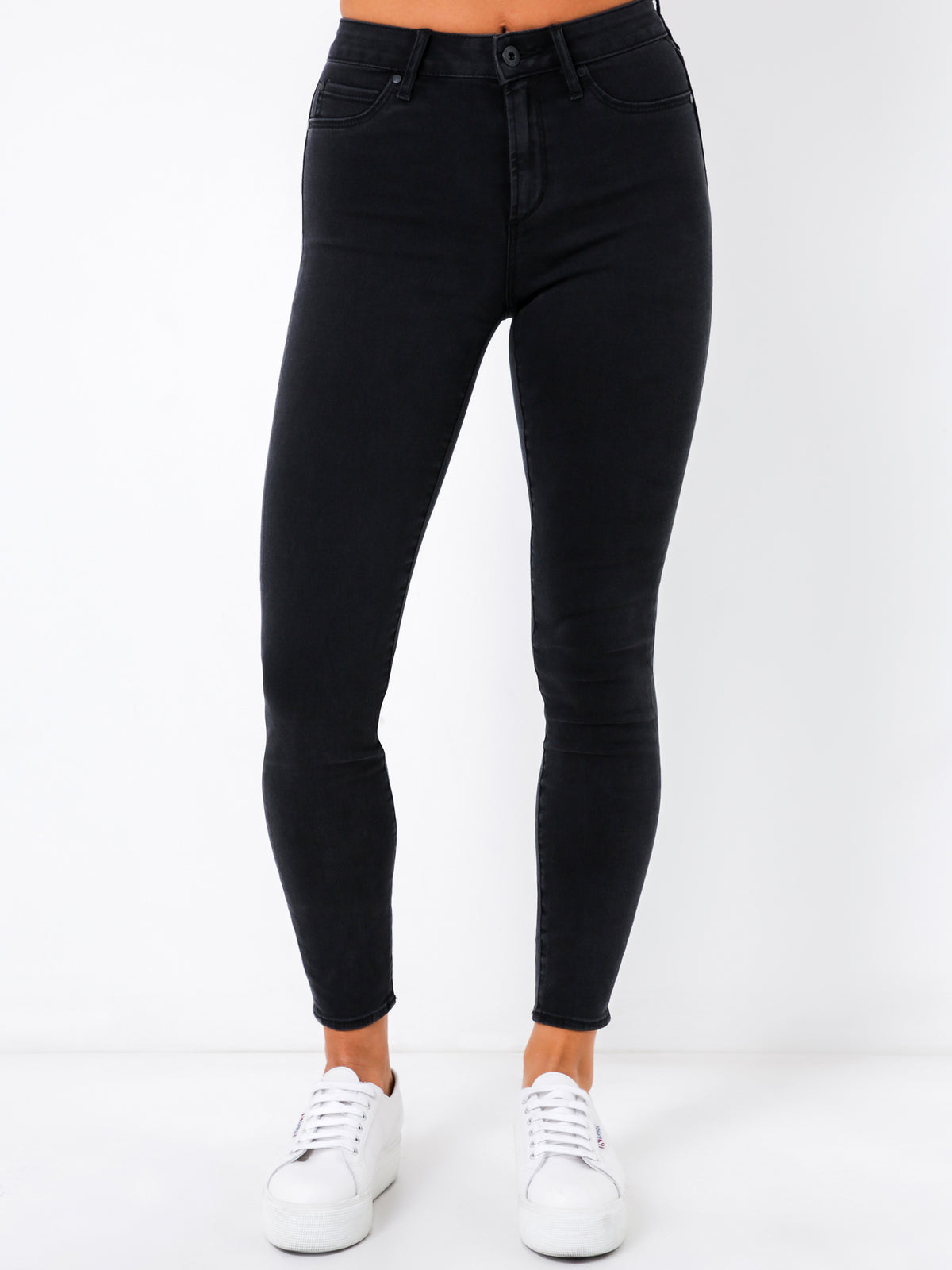 High Rise Cisco Super Skinny Jeans in Black Fade Denim